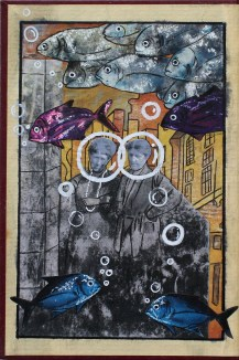 collage on old book cover, 2016