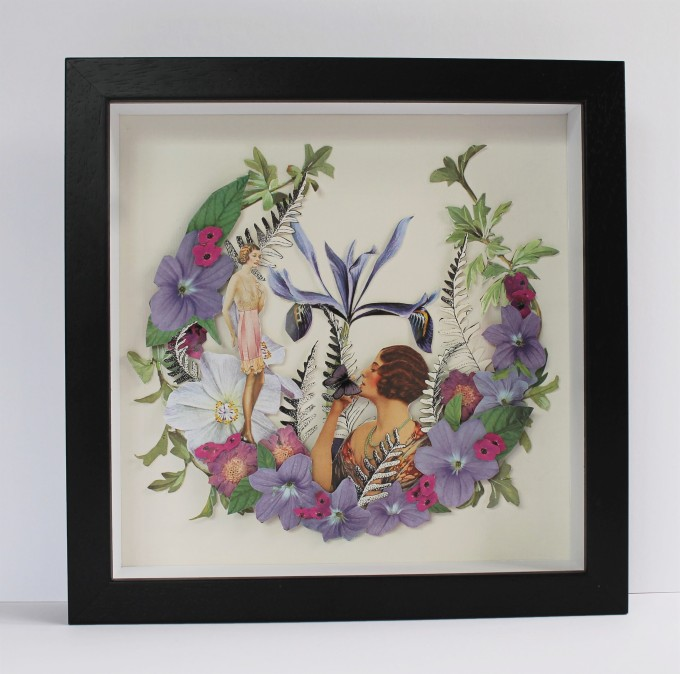 3 - dimensional collage,framed in wooden box frame, 26 cm x 26 cm